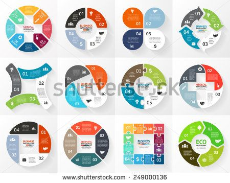Vector circle arrows stripe infographics set Template for cycle - sales presentation template