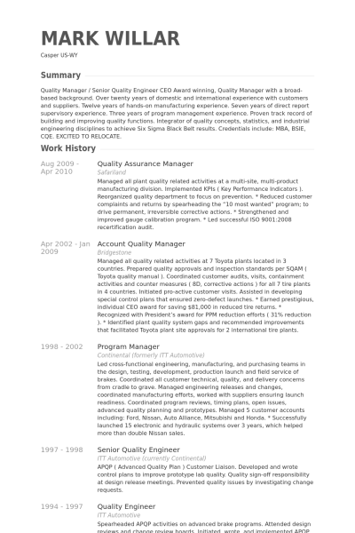 Resume Templates Quality Assurance Manager Resume Examples Resume Sample Resume