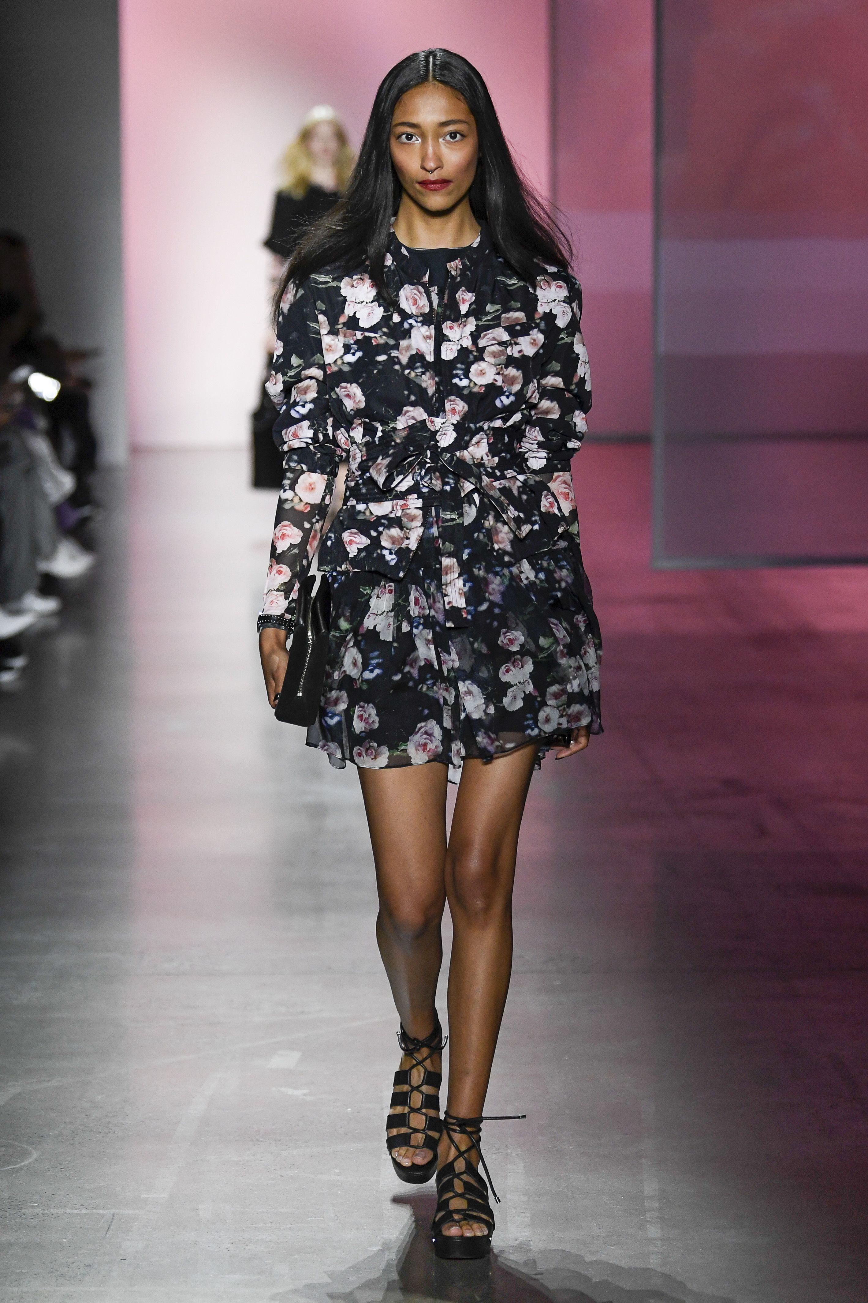 aedcfa47ee7bf Rebecca Minkoff Spring Summer 2019 #NYFW Runway Show. Ollie Dress, Iven  Sandal, Cyder Top, Splice Clutch. Floral dress, floral top, black platform  sandals, ...