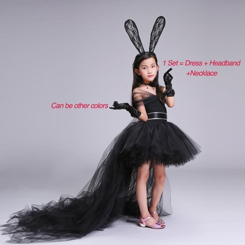 28175c3176 Dress+Headband+Necklace Black Handmade Girl Party Dress with Train Tulle  Chiffon Girl Tutu