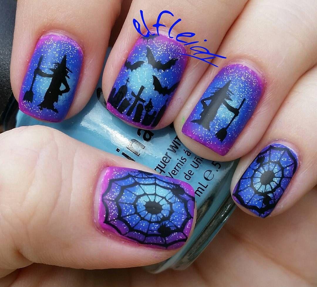 Radial gradient, halloween, blue, purple, spider web, bats ...