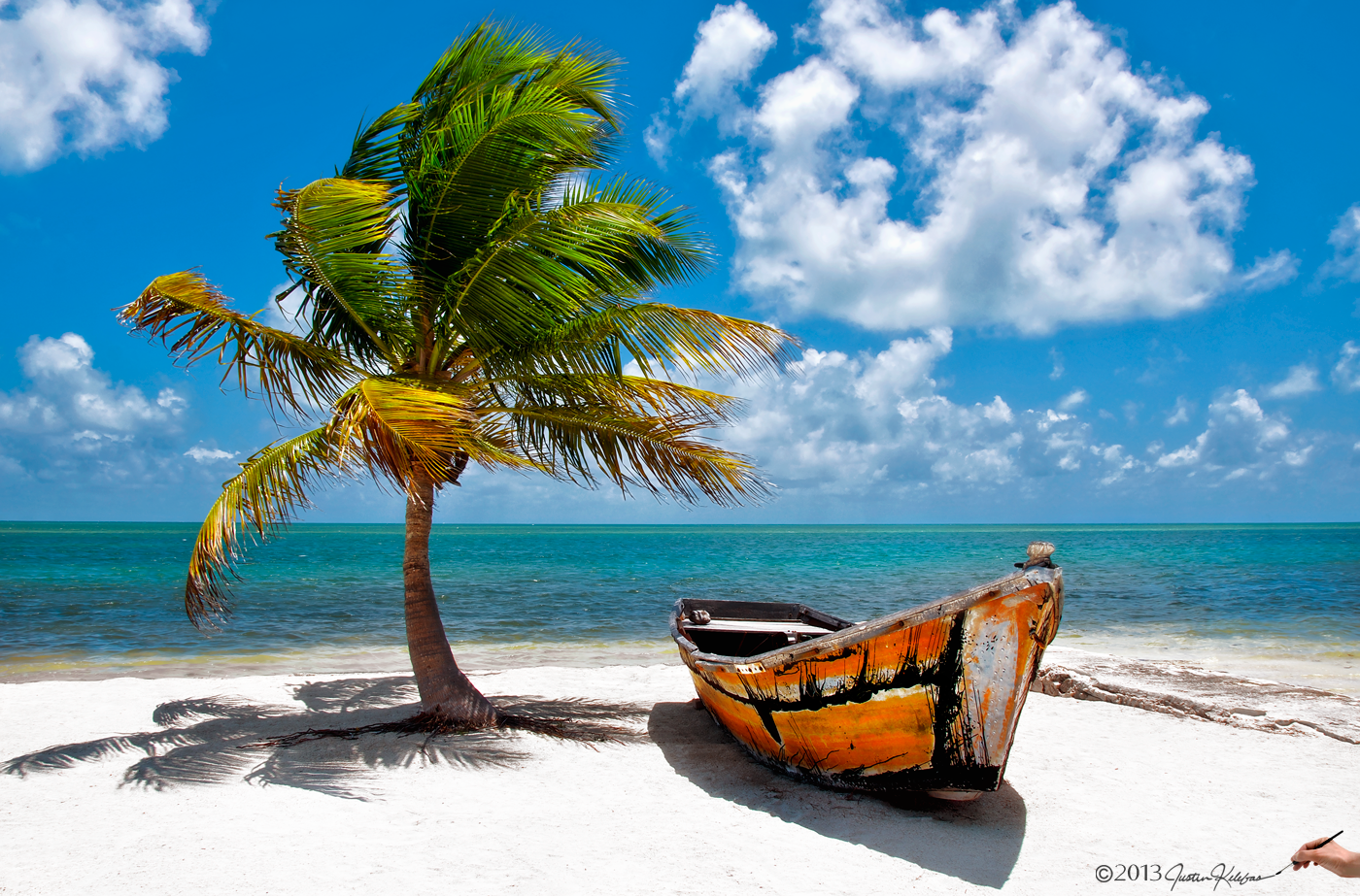Florida keys beach palm tree coconuts ocean white sand boat justin photograph small boat under palm tree in the florida key islemorada by justin kelefas on voltagebd