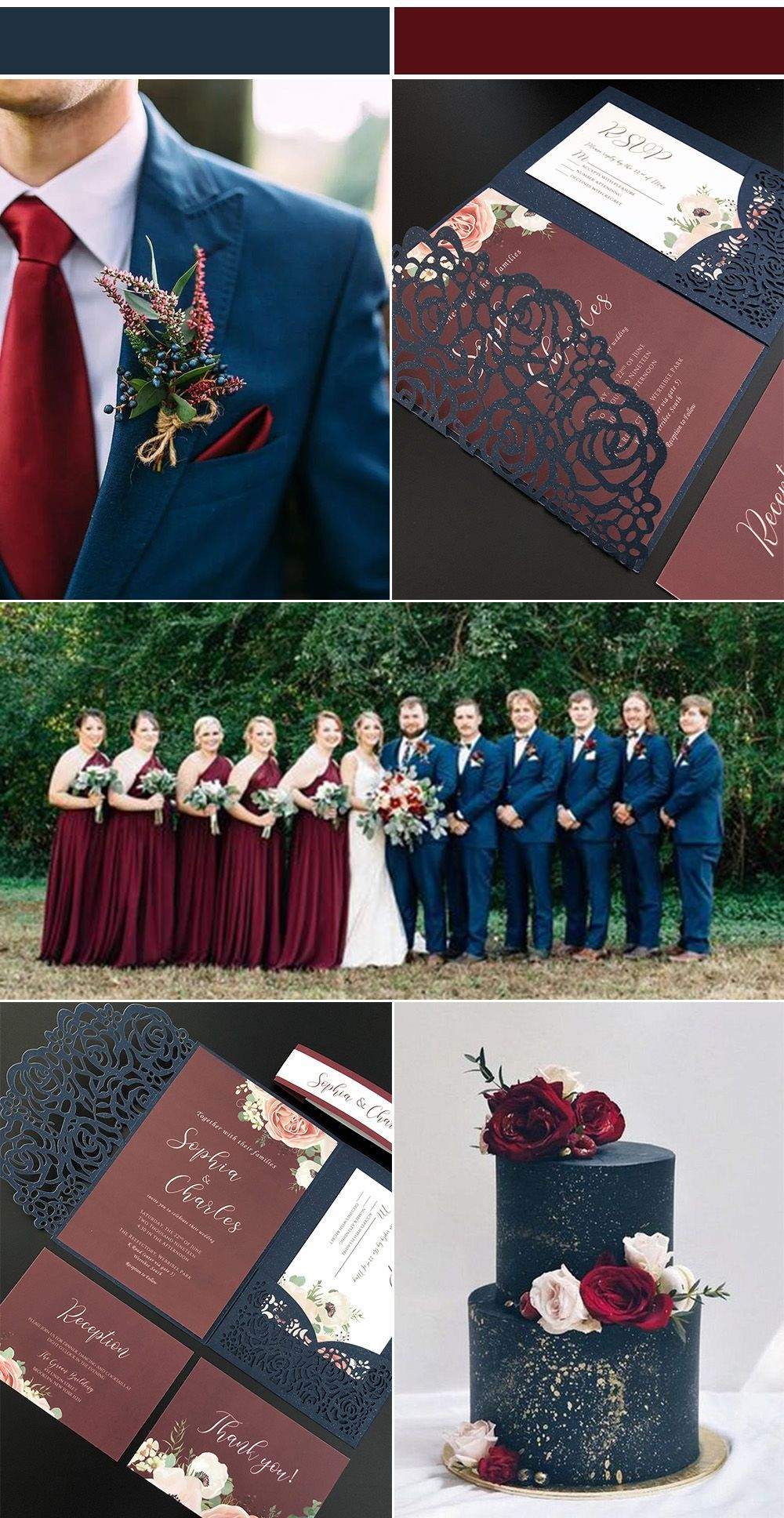 Navy and Burgundy Wedding Invitations with Laser Cut Pockets-Free RSVP Cards