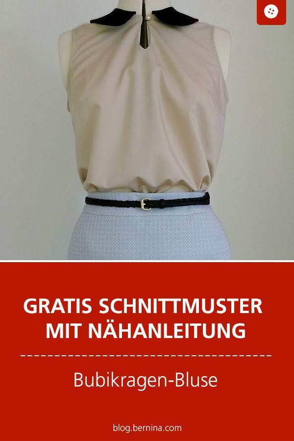 Gratis Schnittmuster mit Nähanleitung: Bluse mit Bubikragen nähen