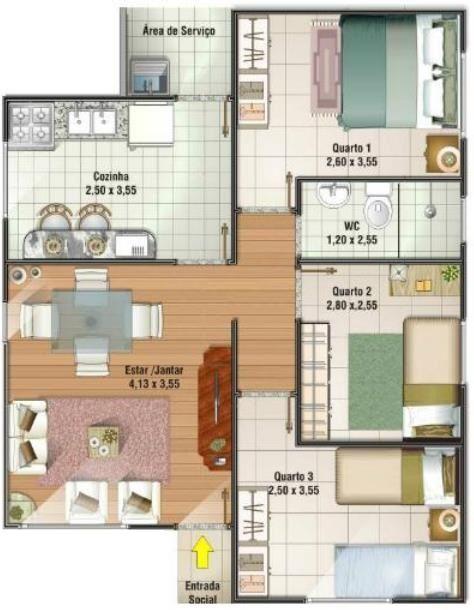 Plano de casa de tres dormitorios en 70 metros mi casa for Diseno de apartamento de 4x8 mts