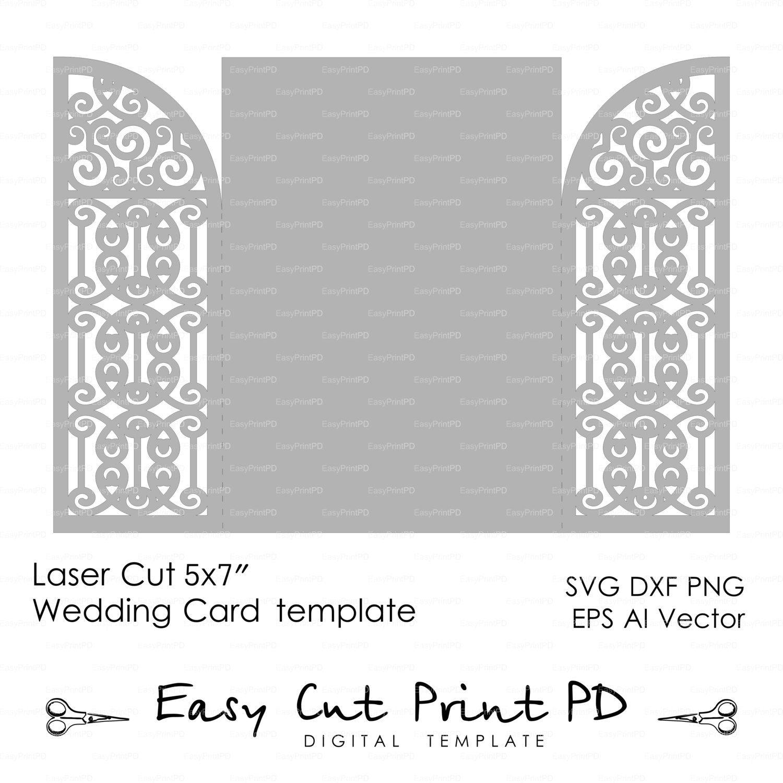 Wedding invitation Card 5x7 Template iron door gate folds studio – Studio Cards Wedding Invitations
