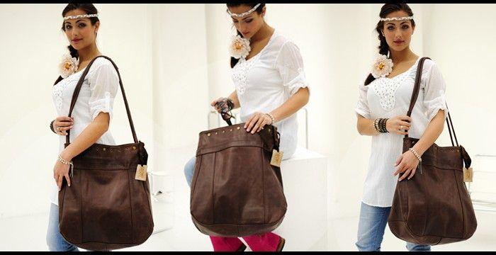 own design Salome big brown leather bag