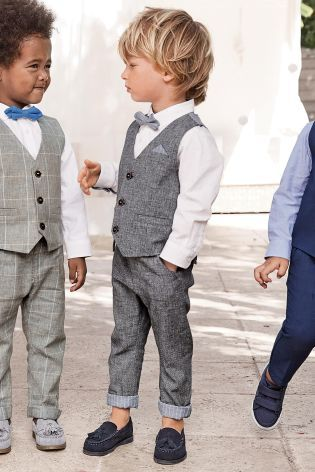 74c596d09 Buy Blue Textured Waistcoat Set (3mths-6yrs) online today at Next ...