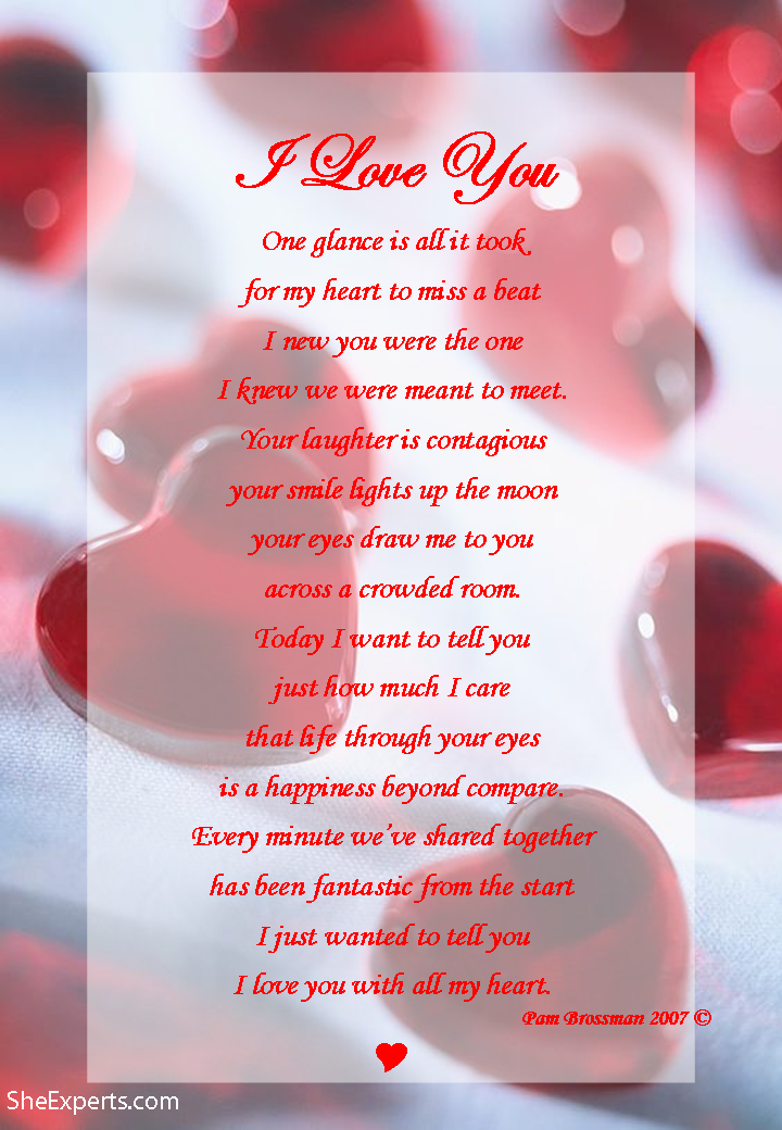 I Love You poem. Happy Valentines Day Welcome to repin and share ...