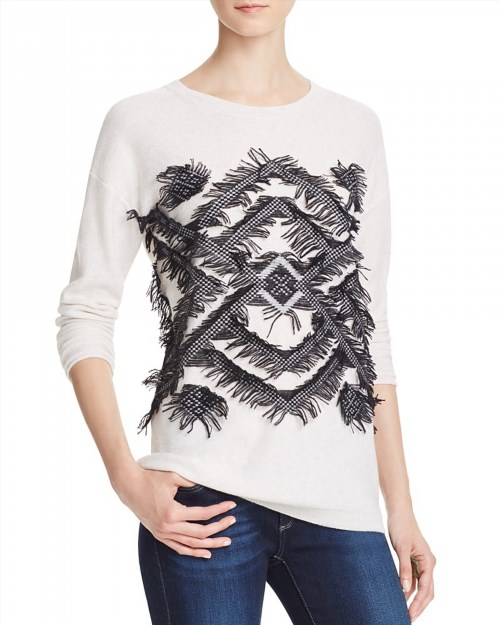 59.00$  Buy here - http://vizjc.justgood.pw/vig/item.php?t=7jl3hv234652 - AQUA Cashmere Geo Fringe Cashmere Sweater - 100% Exclusive