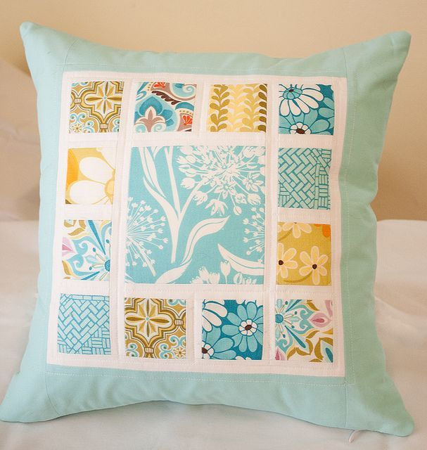 Love this idea - simple and clean. Great way to use a favorite ... : quilted pillows - Adamdwight.com