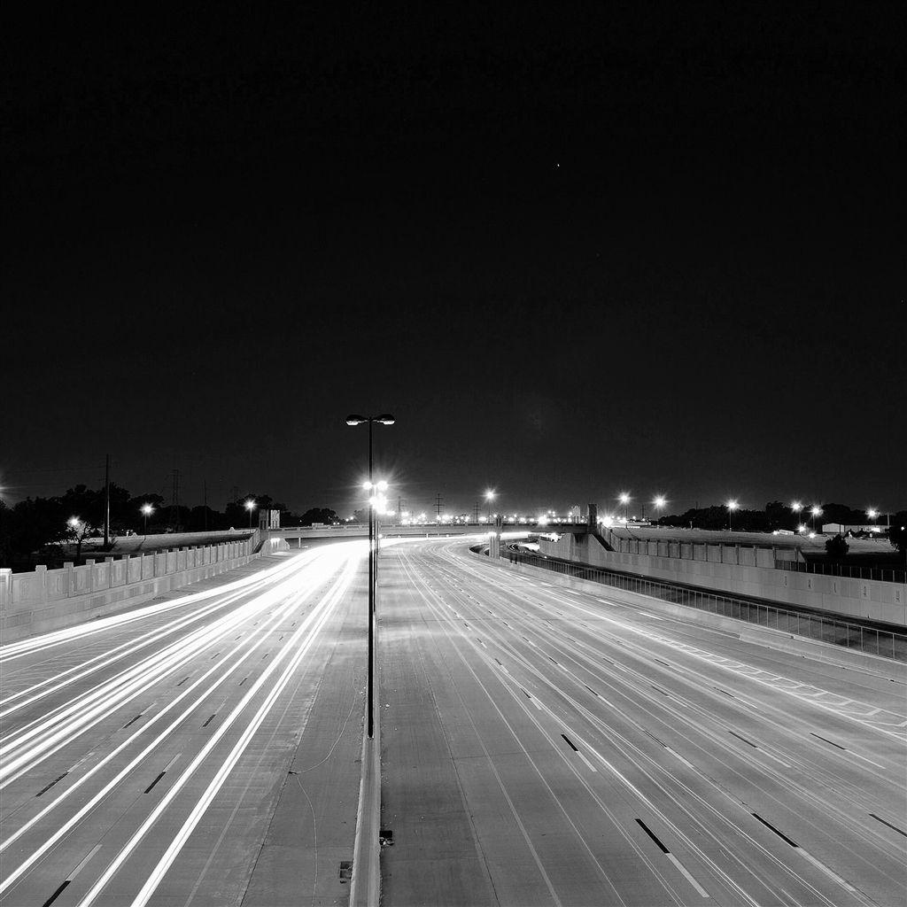 Road Street City Night Car Lights Dark Bw Retina Ipad Air Wallpaper