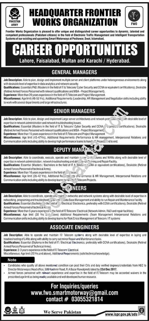 Headquarter Frontier Works Organzation Fwo Jobs  In Rawalpindi