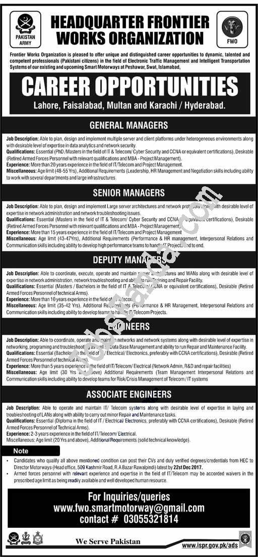 Headquarter Frontier Works Organzation Fwo Jobs  In Rawalpindi