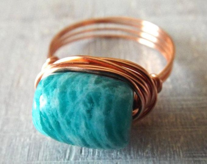 Band ring turquoise, wire wrapped ring, turquoise ring, copper wire ...