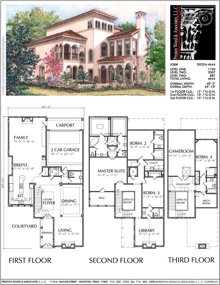 Three Story Home Plan D0324 Sims 4 House Plans Vintage House Plans Beach House Plans