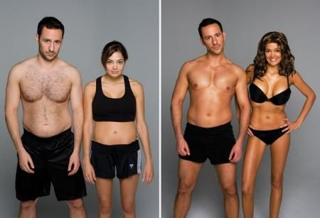 "Genesis Mayorga This is an example of photo manipulation. The man is photoshopped to look more tan and muscular and the woman is changed to look more ""feminine"". They did this by using photoshop to give her a flat tummy, thinner legs, enhancing her boobs, and putting her in a bikini. As for the man, they got rid of his gut, made his shorts shorter to show off his toned legs. And both are now a few shades tanner."