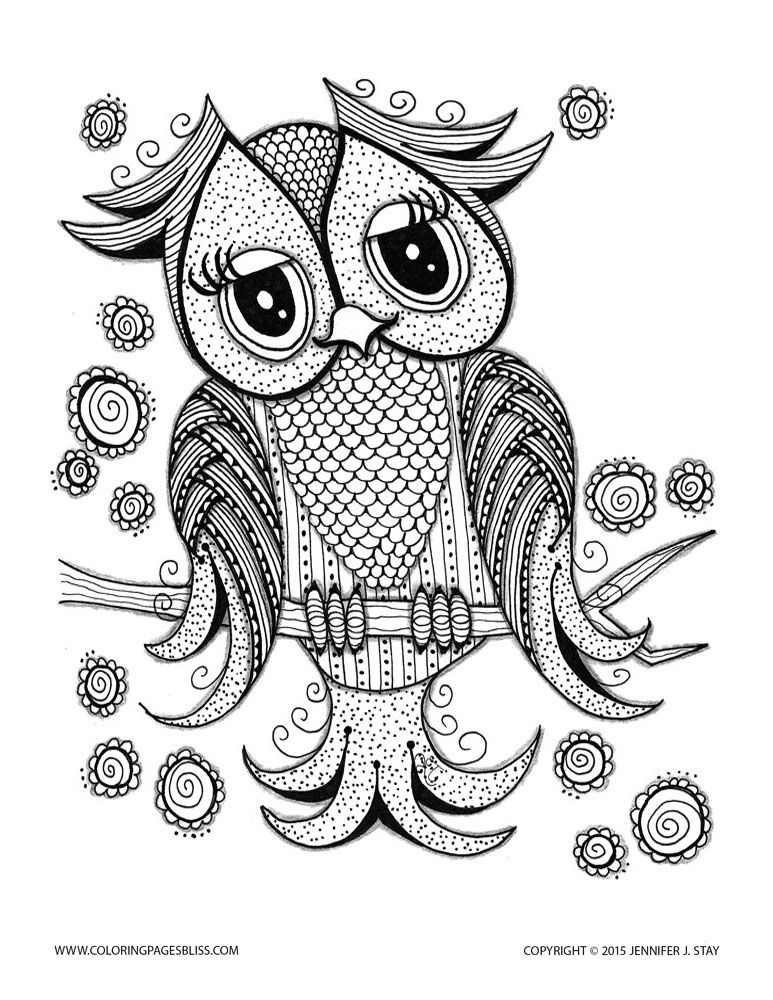 Cute Owl Cute Owl With Tender Eyes From The Gallery Owls Artist Jennifer Stay Just Color Disco Owl Coloring Pages Coloring Pages Free Coloring Pages