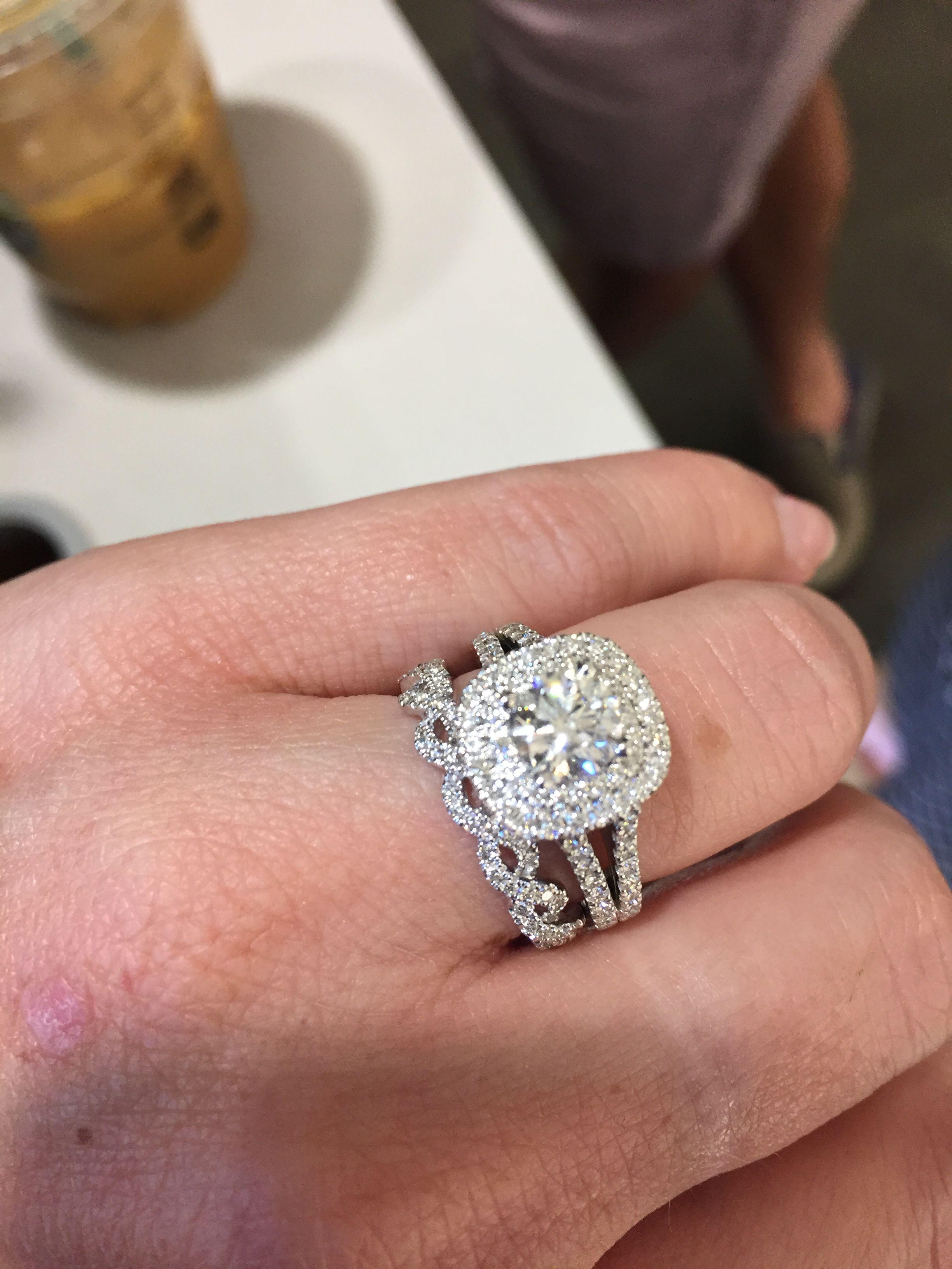 My new Vera Wang split shank double halo diamond ring and Vera