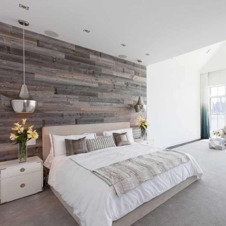 Hoboken master bedroom design with reclaimed wood feature wall interiordesign luxurydesign - Feature bedroom wall ideas ...