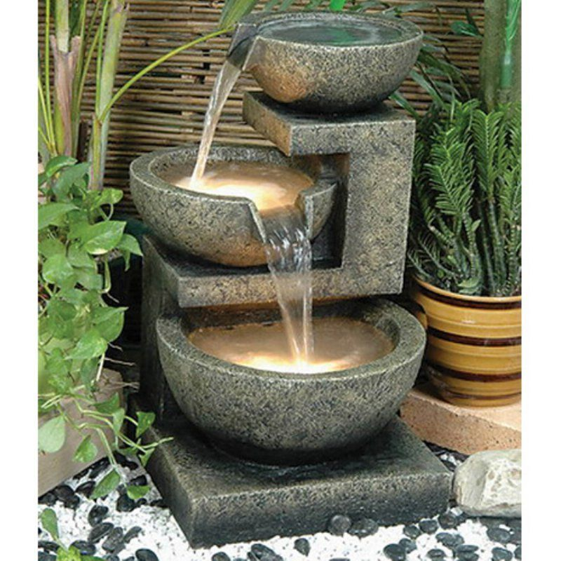 Alfresco Home Rocca Outdoor Fountain with Pump and Light Fountains