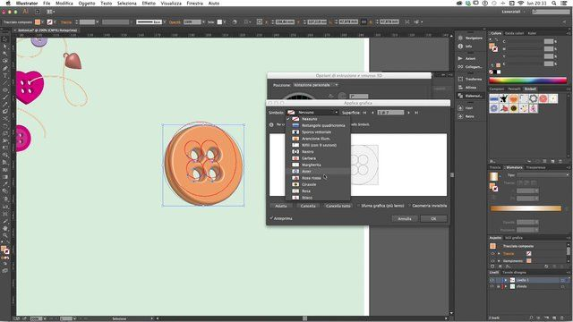 Create a button with Illustrator CC 3d function