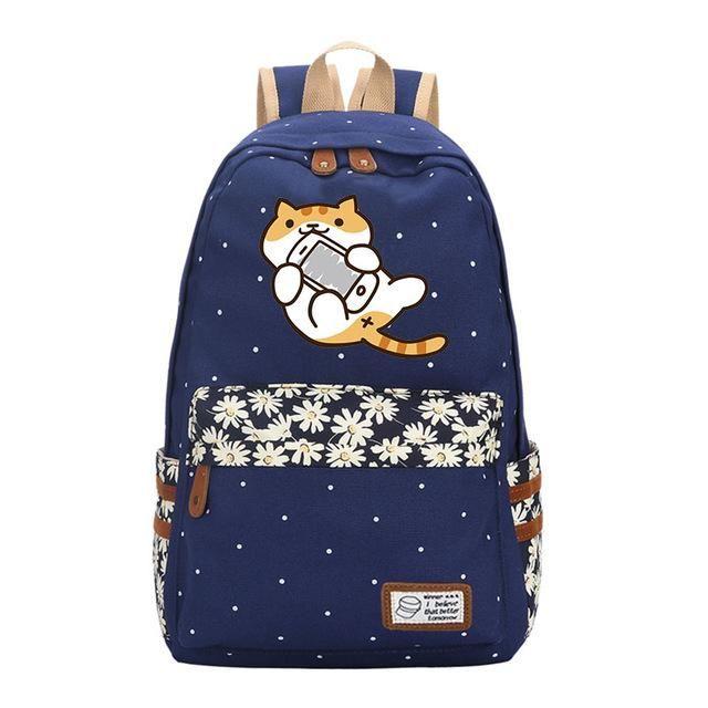 b13f0c1e041b Neko Atsume Anime Cat Backpack w  Flowers (17
