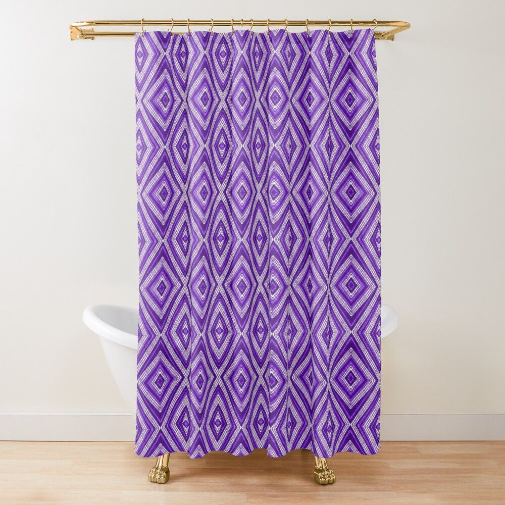 Purple Oldie Checkered Pattern Vintage Fabric Style Shower