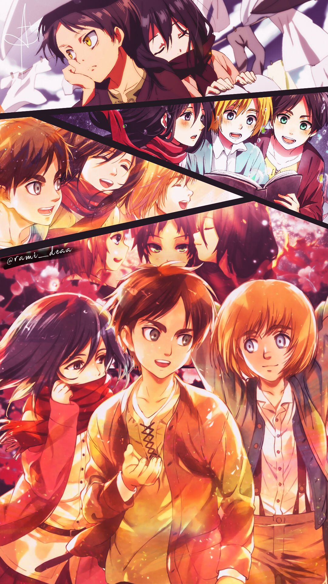 Eren And Mikasa And Armin Attack On Titan Anime Anime Attack On Titan Eren