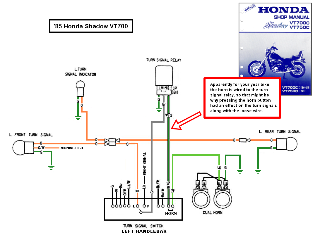 1988 honda shadow vt1100 turning signal wiring diagram