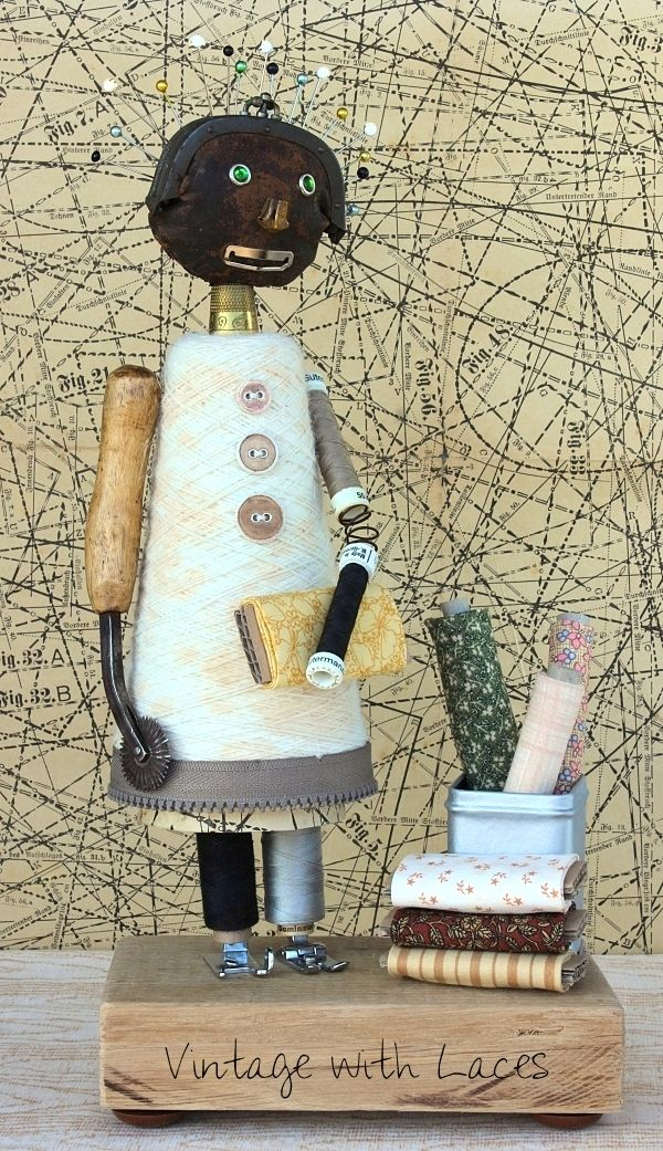 Sewfie, the upcycled sewing themed junk girl, by Vintage With Laces, featured on Funky Junk Interiors
