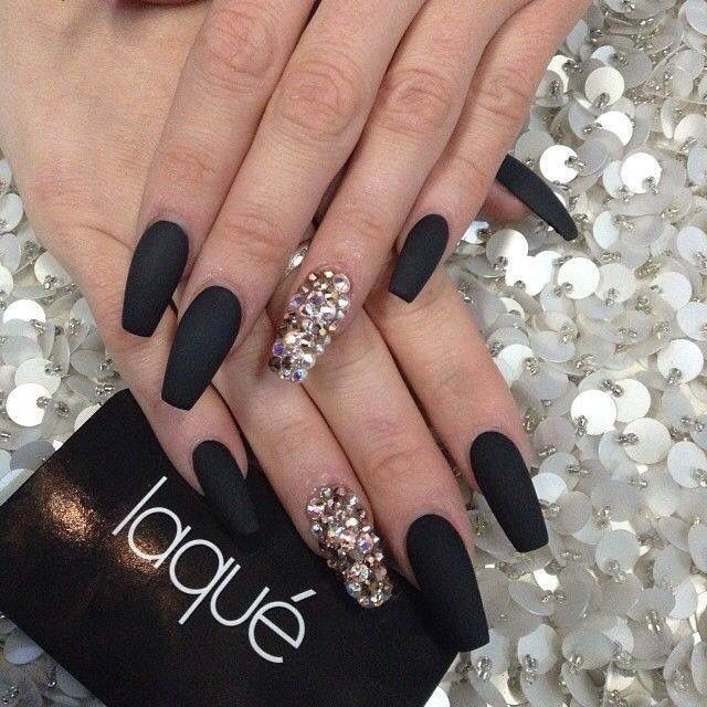 Coffin Black With Ring Finger Design Prom Nails Cute Nails Nail Designs