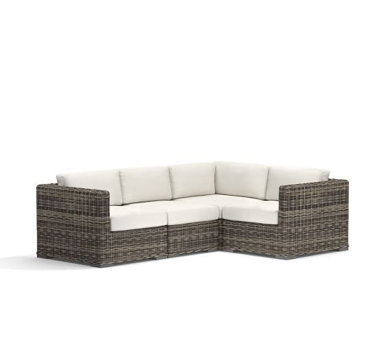 Huntington All Weather Wicker Square Arm Sectional   Pottery Barn. Outdoor  ...