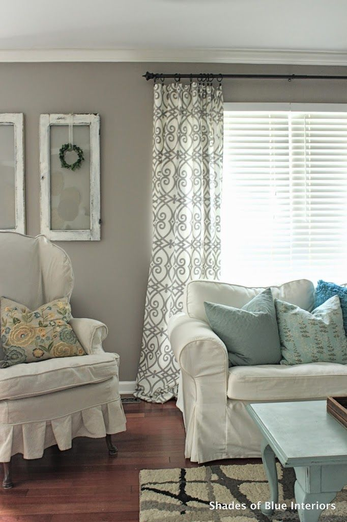 No Sew Tutorial Curtains Shades Of Blue Interiors Window Treatments Living Room Living Room Windows Curtains Living Room