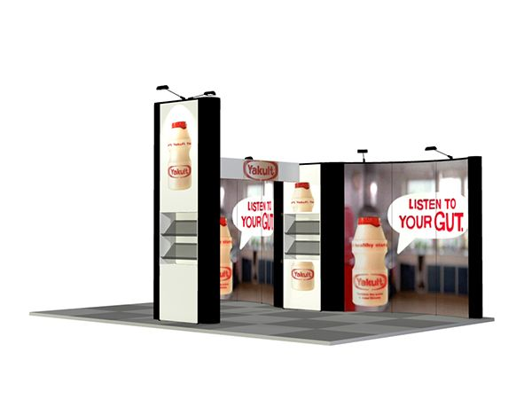 Yakult 3D design of a client stand created with our Portable - ba stands for