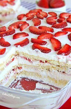 No Bake Strawberry Icebox Cake - Cakescottage