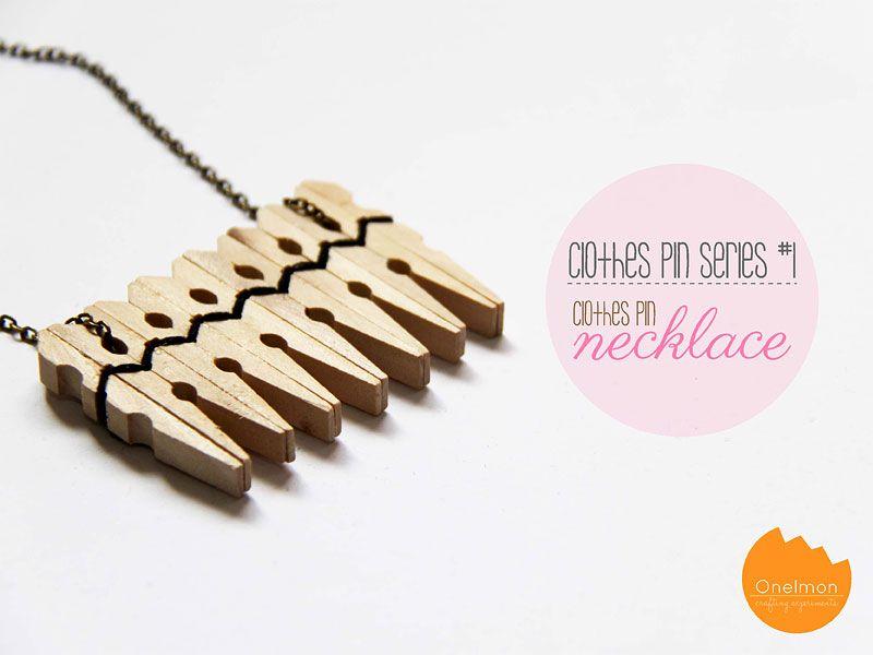 Puisista pyykkipojistakin saa tehtyä kaulakorun! Pyykkipojat vois myös maalata ennen korun tekemistä. DIY Tutorial: Clothes Pin Series - Necklace | @Onellyantie Chuah