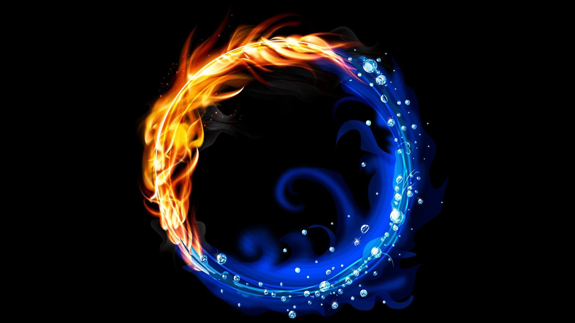 water and fire logo abstract vector colorful fire