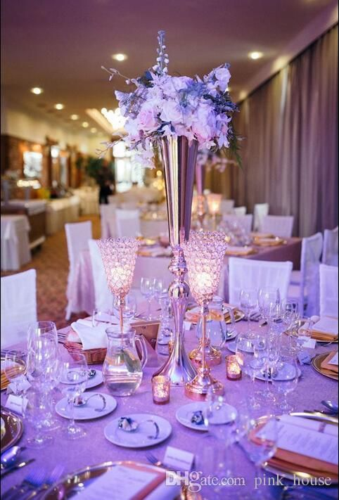 Elegant Slim Tall Metal Gold Color Flower Vase Wedding Table Centerpieces For Decoration Vases