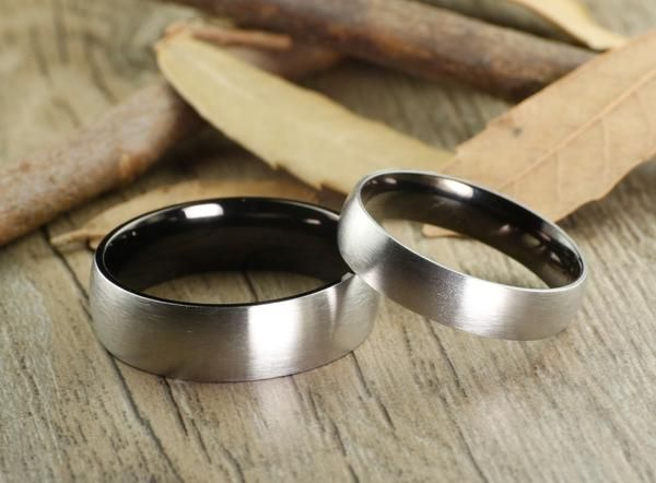 Handmade Black Dome Matte Wedding Bands, Couple Rings Set, Titanium Rings Set, Anniversary Rings Set