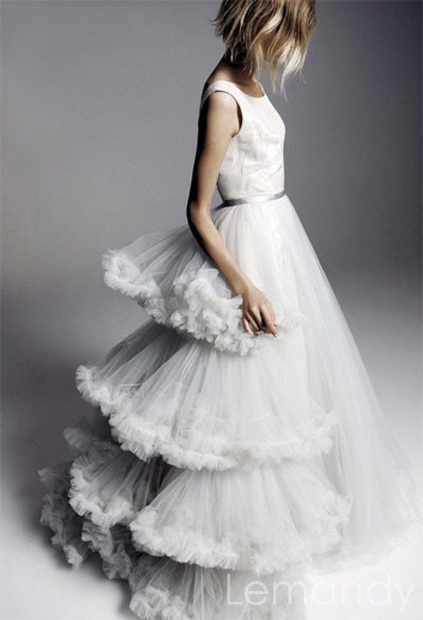 scoop taffeta bodice tull princess skirt wedding dress. $325.00, via Etsy.
