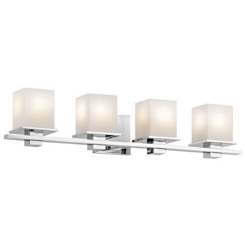 Kichler Tully 4 Light 32 Wide Vanity Bathroom Fixture With Satin Etched Gl Shades Chrome