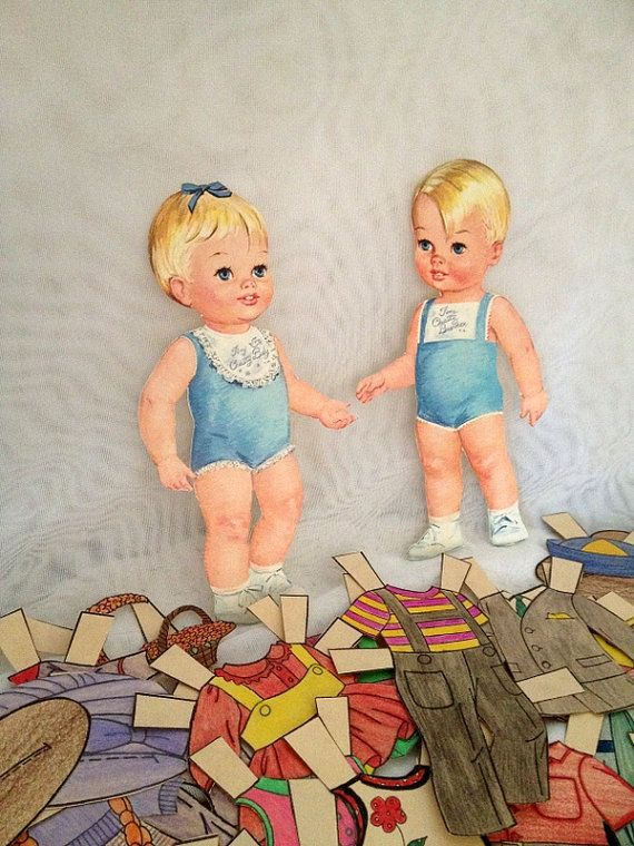 vintage 1963 Chatty Baby cut out Paper Dolls Girl and Boy plus Hand Colored Clothes - Pencil Crayon Coloured - Excellent Unused Condition