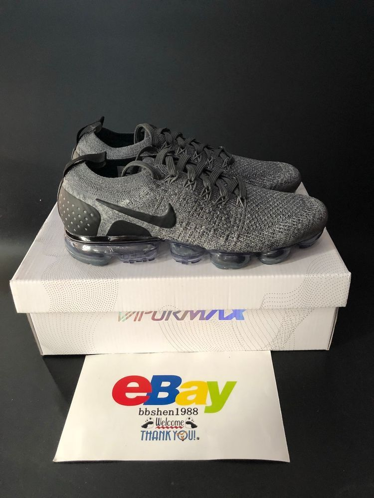 reputable site 9d04f 544b4 New Nike Air VaporMax Flyknit 2 942842-002 Men Running Wolf Grey Black  Nike