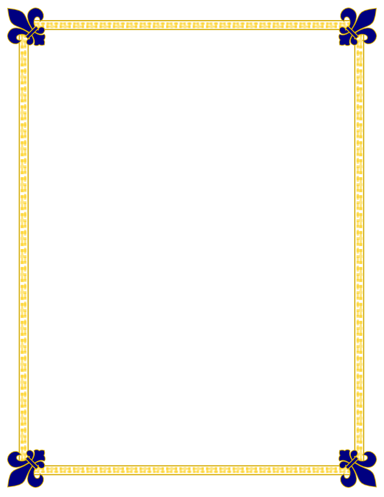 fleur de lis gold and blue border