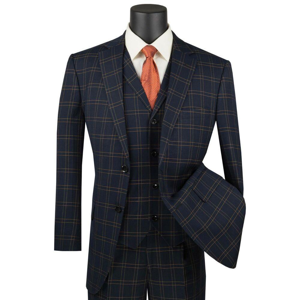Vinci Men S Black Glen Plaid Check 3 Piece 2 Button Classic Fit Suit New Clothing Shoes Accessories Men S Clothing Dress Suits For Men Suits Mens Outfits [ 1000 x 1000 Pixel ]