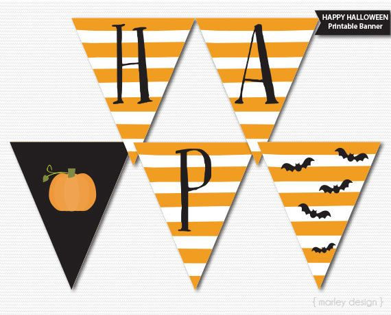 graphic relating to Halloween Banner Printable identify Satisfied Halloween Banner Printable Halloween Decor Halloween