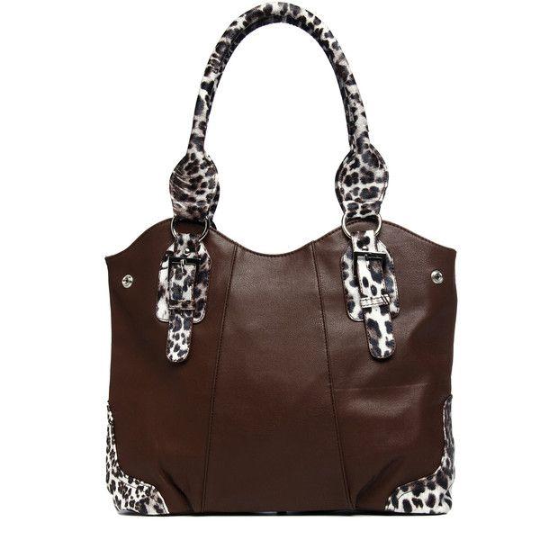 c0a16db5c0 J. Furmani Brown Animal-print Trim Knotted Handle Tote Bag ( 57 ...