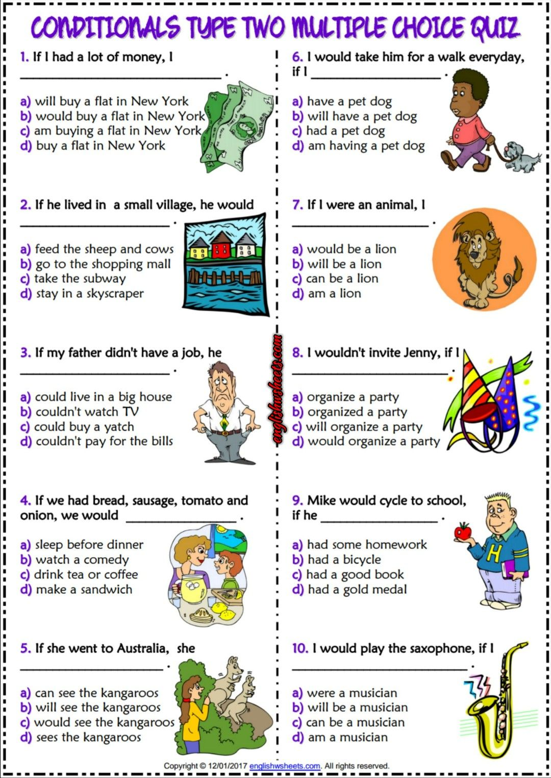 Conditionals Type 2 Esl Printable Multiple Choice Quiz