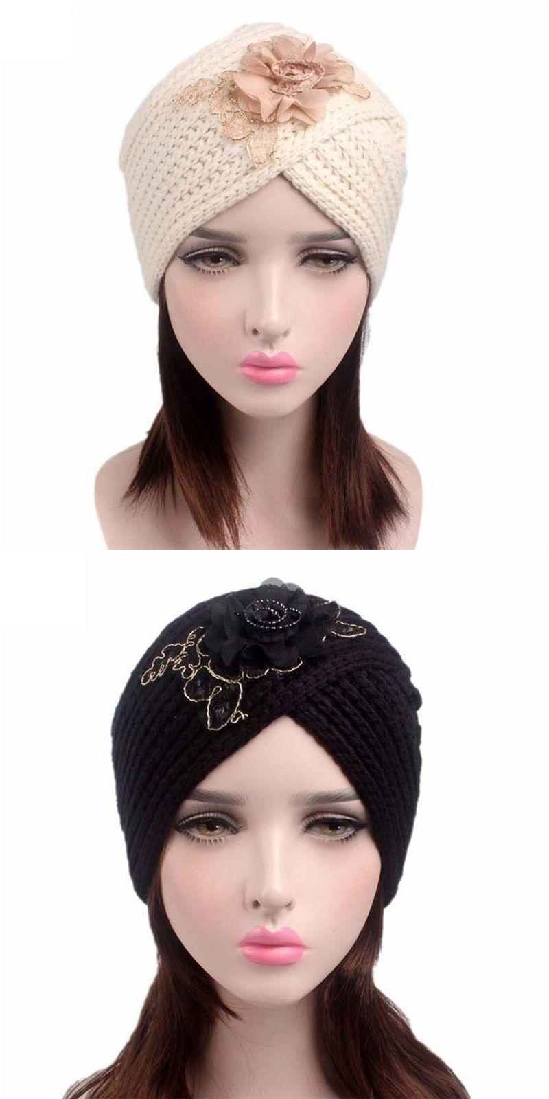 858a9317dca Women flower skullies beanies ladies retro winter knitting acrylic wool hat  turban brim hat cap pile